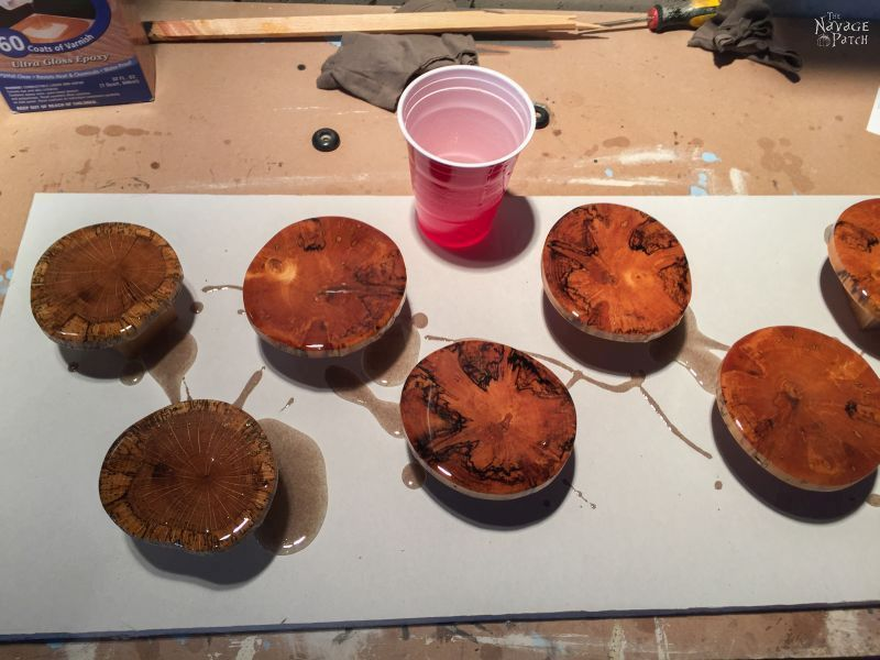DIY Log Slice Coasters   How to make coasters from logs   Upcycled logs to DIY wooden coasters   How to stop coasters sticking to glasses   Perfect use of cabochon   How to use epoxy resin   Step-by-step epoxy resin coaster tutorial   Epoxy resin tips   Repurposed Log Ideas   #TheNavagePatch #DIY #HomeDecor #Upcycled #Repurposed   TheNavagePatch.com