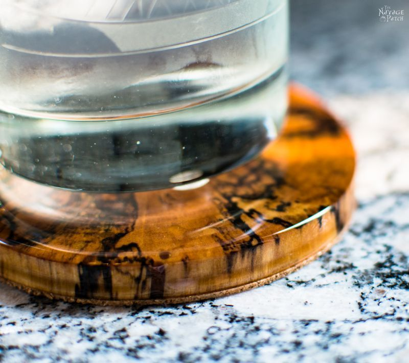 DIY Log Slice Coasters | How to make coasters from logs | Upcycled logs to DIY wooden coasters | How to stop coasters sticking to glasses | Perfect use of cabochon | How to use epoxy resin | Step-by-step epoxy resin coaster tutorial | Epoxy resin tips | Repurposed Log Ideas | #TheNavagePatch #DIY #HomeDecor #Upcycled #Repurposed | TheNavagePatch.com