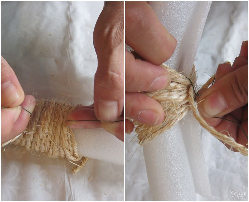 hands wrapping wire around coils of sisal twine