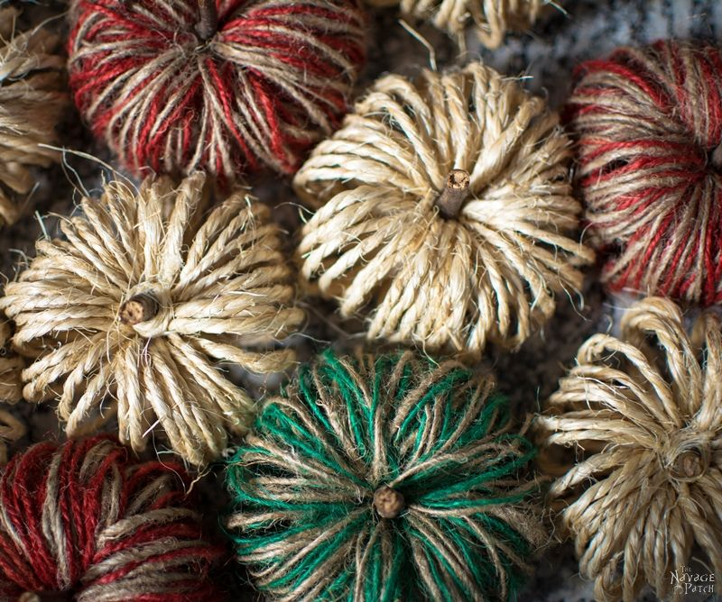 top view of diy sisal twine pumpkins