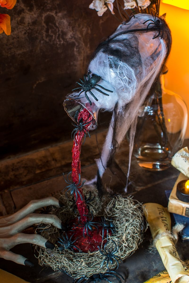 Magical floating potion bottle | Halloween apothecary jars, potions and spells decor | Harry Potter theme | DIY floating bottle | How to make a floating potion bottle | Spooky witches kitchen ideas | #TheNavagePatch #Upcycle #halloweendecorations #halloween #easydiy #DIY #halloweenparty #haunted #HowTo #gothic #spooky | TheNavagePatch.com
