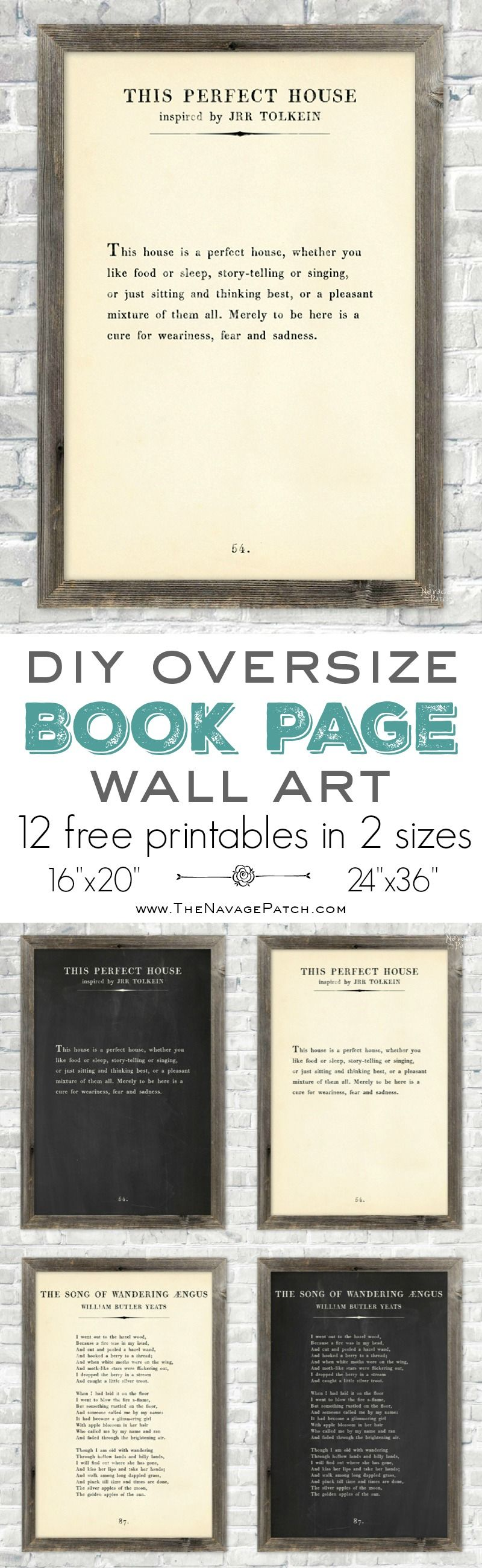 Oversize Book Page Wall Art {12 Free Printables} | 12 free printable high-resolution book page wall art | Amazing set of free printable book page quotes | How to make your own oversized farmhouse style book page quote art | Engineering print vs poster print | Step by step tutorial on budget friendly oversized wall art | Free downloadable book page wall art | Easy DIY wall decoration | TheNavagePatch.com