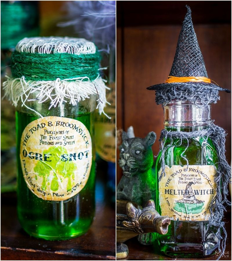 Halloween Apothecary Jars {and Free Printable Labels} | DIY Halloween decor | Harry Potter theme | Free Halloween printable with over 55 jar labels | Potions and spells | DIY Apothecary jars decor | DIY Halloween prop | Spooky and fun witches kitchen | Grimm - Rosalee's spice shop | TheNavagePatch.com