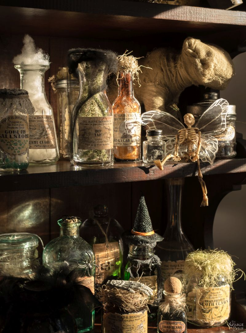 Apothecary Jars and Free Printable Labels | DIY potion bottle and spell books Halloween decor | Harry Potter theme Halloween decor ideas | Free printable labels for apothecary jars | DIY apothecary jars with Dollar store supplies | Spooky and fun witches kitchen ideas | #TheNavagePatch #Halloween #diy #easydiy #potionbottle #potion #halloweedecor # halloweenparty #dollarstore #dollartree #upcycle #repurposed #HarryPotter | TheNavagePatch.com