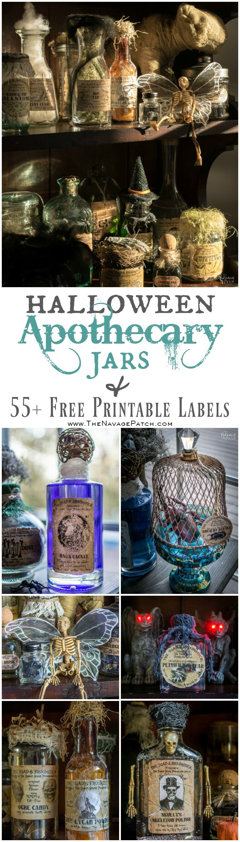 photo regarding Free Printable Halloween Bottle Labels named Halloween Apothecary Jars No cost Printable Labels - The