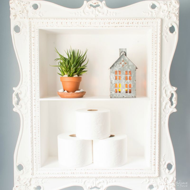Anthropologie inspired storage cabinet | DIY storage cabinet | Upcycled picture frame | DIY chalk paint recipe | Anthropologie knockoff storage cabinet | DIY Storage ideas | #TheNavagePatch #diy #organization #storage #anthropologie #upcycled #repurposed #chalkpaint #knockoff | TheNavagePatch.com