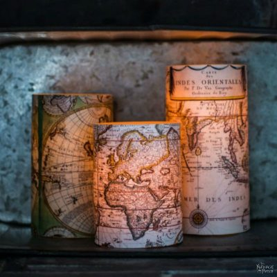 Antique World Map Decoupaged Candles | How to decoupage | How to use modpodge | Free printable old maps | Free printable decoupage paper | DIY nautical home decor | Step-by-step decoupage video tutorial | Modpodge video tutorial | #TheNavagePatch #Modpodge #freeprintable #tutorial #DIYhomedecor #DIY #diydecor #nautical #coastal #decoupage #candles #knockoff #maps | TheNavagePatch.com