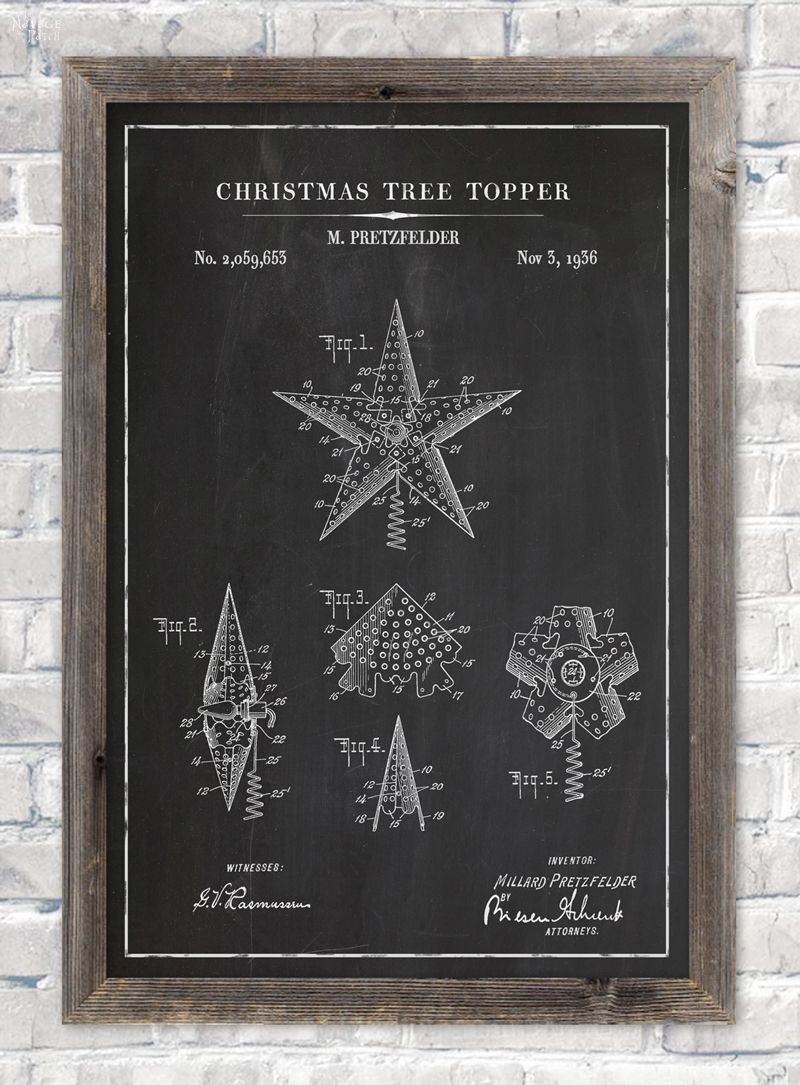 Christmas tree topper patent wall art in chalkboard background