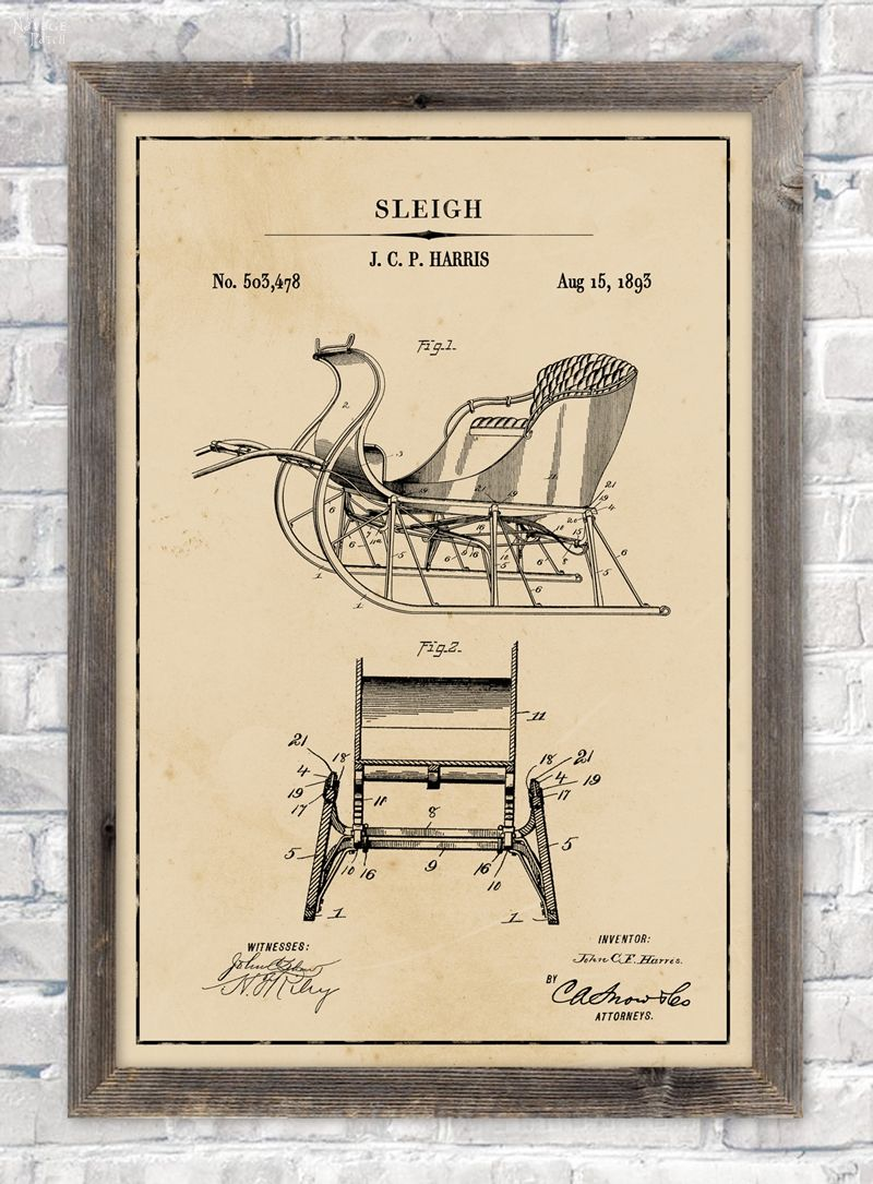 Santa's sleigh patent wall art in aged paper background