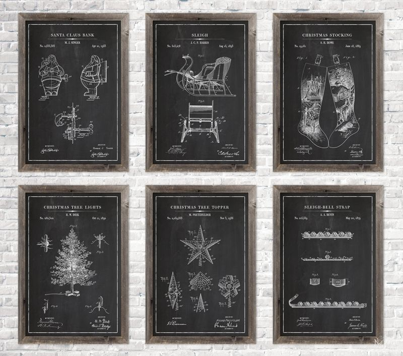 6 Christmas patent wall art in chalkboard background