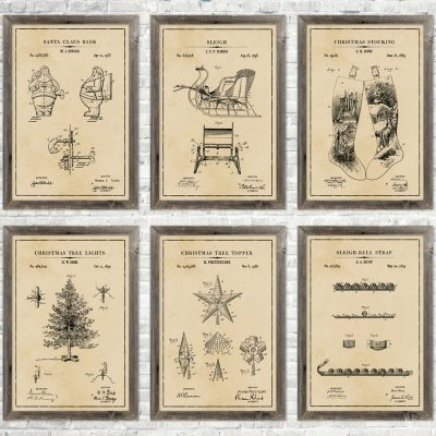 Christmas Patent Wall Art {and 18 Free Printables}
