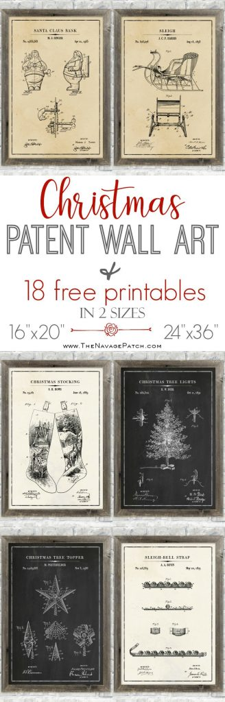 Christmas Patent Wall Art (and 18 free printables) pinterest image