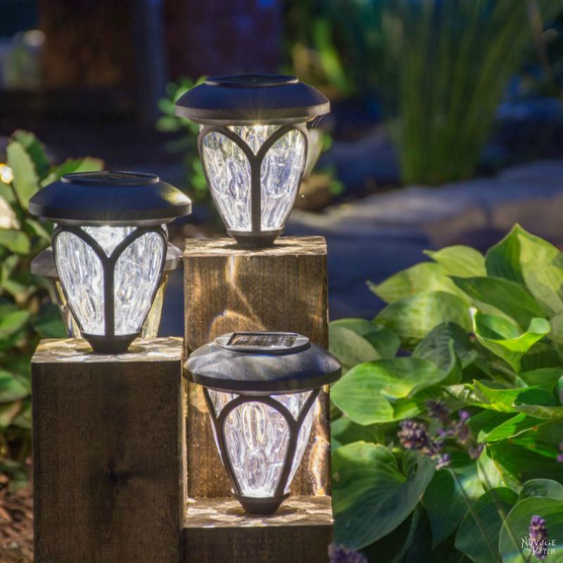 DIY Cedar Cube Solar Landscape Lights | DIY solar outdoor lights | How to clean a solar panel | How to revive solar panels in one easy step | How to make non-working the solar lights work again |#TheNavagePatch #DIY #Garden #SolarLights #CurbAppeal #DIY #FreePlans | Garden and backyard decor | Budget garden and backyard lighting | TheNavagePatch.com