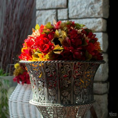 DIY Fall Flower Topiary and Hanging Flower Basket