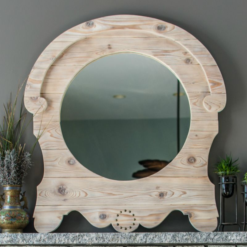 DIY French Country Style Mirror | Upcycled mirror with a DIY frame | DIY home decor | How to make vintage french country style frame | How to raise wood grain | How to apply white wax | Fixer Upper style home decor | Easy and budget-friendly home decor | Easy and simple woodworking | DIY wood burning | TheNavagePatch.com