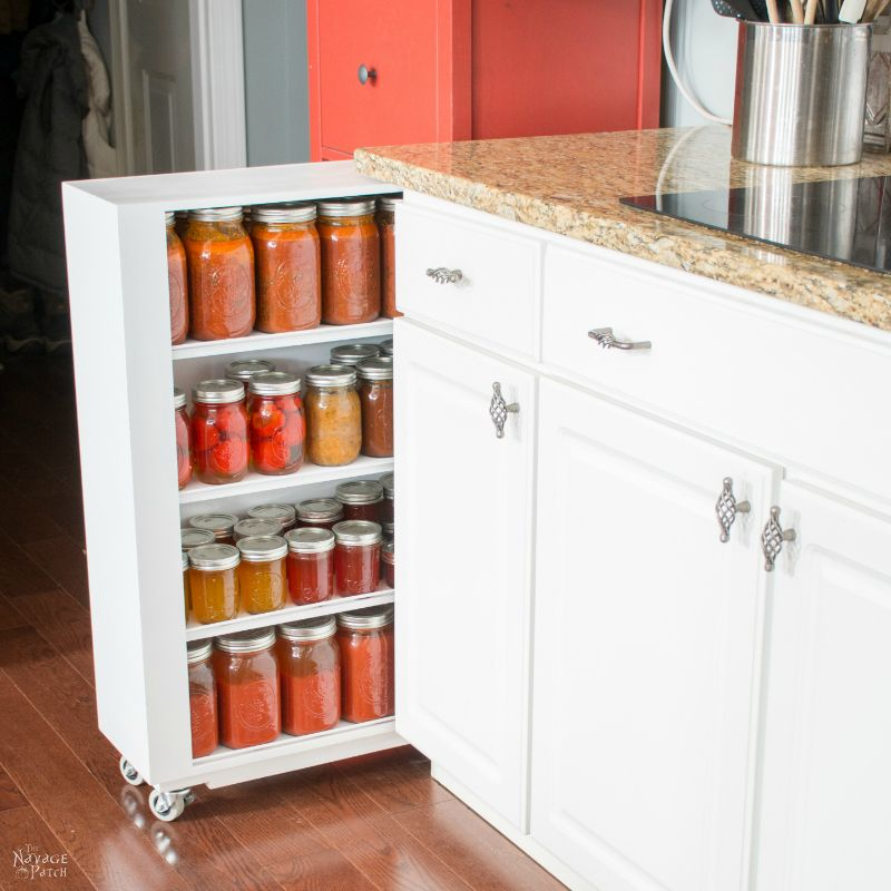 DIY Slide-Out Shelves | DIY pull-out shelf tutorial | DIY Pull-out shelves for the kitchen | Easy DIY roll-out shelves | How to make DIY sliding shelves for kitchen cabinets | Step by step slide-out shelf tutorial | Budget friendly simple DIY cabinetry | #TheNavagePatch #DIY #kitchen #organization #SlideOut #RollOut #shelves #cabinets #kitchencabinets #remodel | TheNavagePatch.com