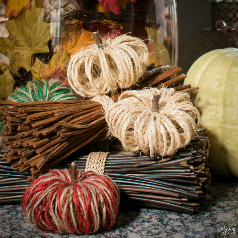 DIY Sisal Twine Pumpkins | How to make dual colored twine pumpkins | DIY fall decoration | Dollar store crafts | #TheNavagePatch #DollarTree #easydiy #Falldecorideas #pumpkin #falldecor #diy #diypumpkin #thanksgiving #DollarStore #fall #pumpkineverything | TheNavagePatch.com