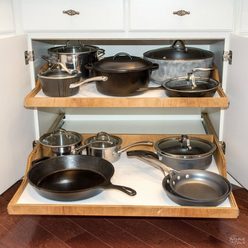 Pots And Pans On Diy Slide Out Shelves