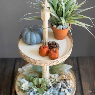 DIY Tiered Stand | How to make Victorian style tiered stand | How to use decorative metal straps | Diy home decor | Diy chalk paint | Homemade chalk paint recipe | Painted and antiqued home decor | Annie Sloan Old White color | Cheap & easy crafts | Simple woodworking | Spindle craft ideas | TheNavagePatch.com