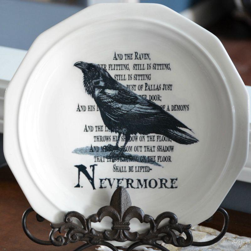 Raven on a Halloween Dish