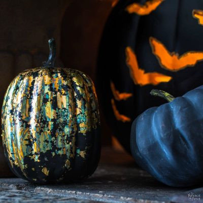 DIY Gilded Pumpkins | No-carve gilded Halloween pumpkins | How to gild | DIY Halloween and fall decoration | Pumpkin carving designs | Gilded Dollar Store pumpkins | DIY crackled copper patina gild pumpkins |#TheNavagePatch #DollarStore #DollarTree #easydiy #Falldecorideas #pumpkin #falldecor #diy #diypumpkin #Halloween #halloweendecor #pumpkineverything | TheNavagePatch.com