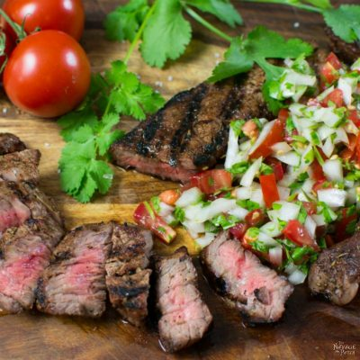 Grilled Dry-Rubbed Sirloin Tips with Sweet Onion-Cilantro Salsa