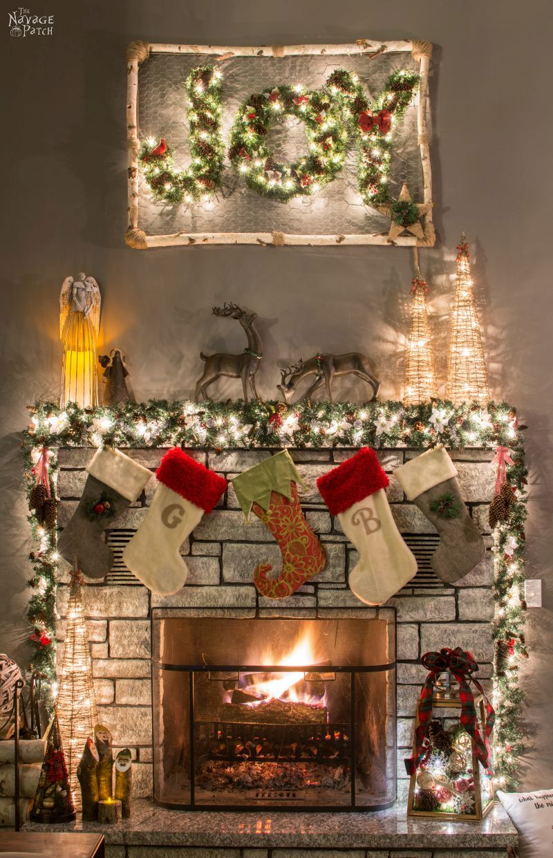 how to decorate a narrow stone mantel in 5 minutes beautiful and practical diy christmas - Beautiful Mantel Christmas Decorations