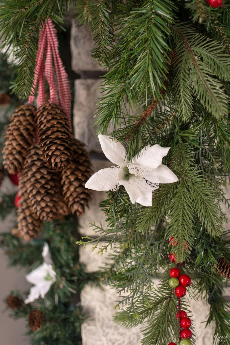 How to Decorate a Narrow Stone Mantel in 5 Minutes   Beautiful and Practical DIY Christmas Mantel Decoration   Easy DIY Holiday Decoration  How to Prepare A Christmas Garland The Easy Way   5 minute Mantel Decoration   #TheNavagePatch #DIY #easydiy #10minute-DIY #Christmas #ChristmasDecor #Christmascrafts #holidaydecor #garland   TheNavagePatch.com