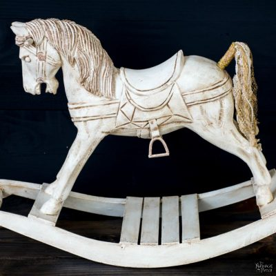 Rocking Horse Makeover | DIY vintage horse makeover | Updating home decor with homemade chalk paint | Homemade chalk paint recipe | How to apply metallic wax | How to apply antiquing wax | Girl's bedroom decor | TheNavagePatch.com