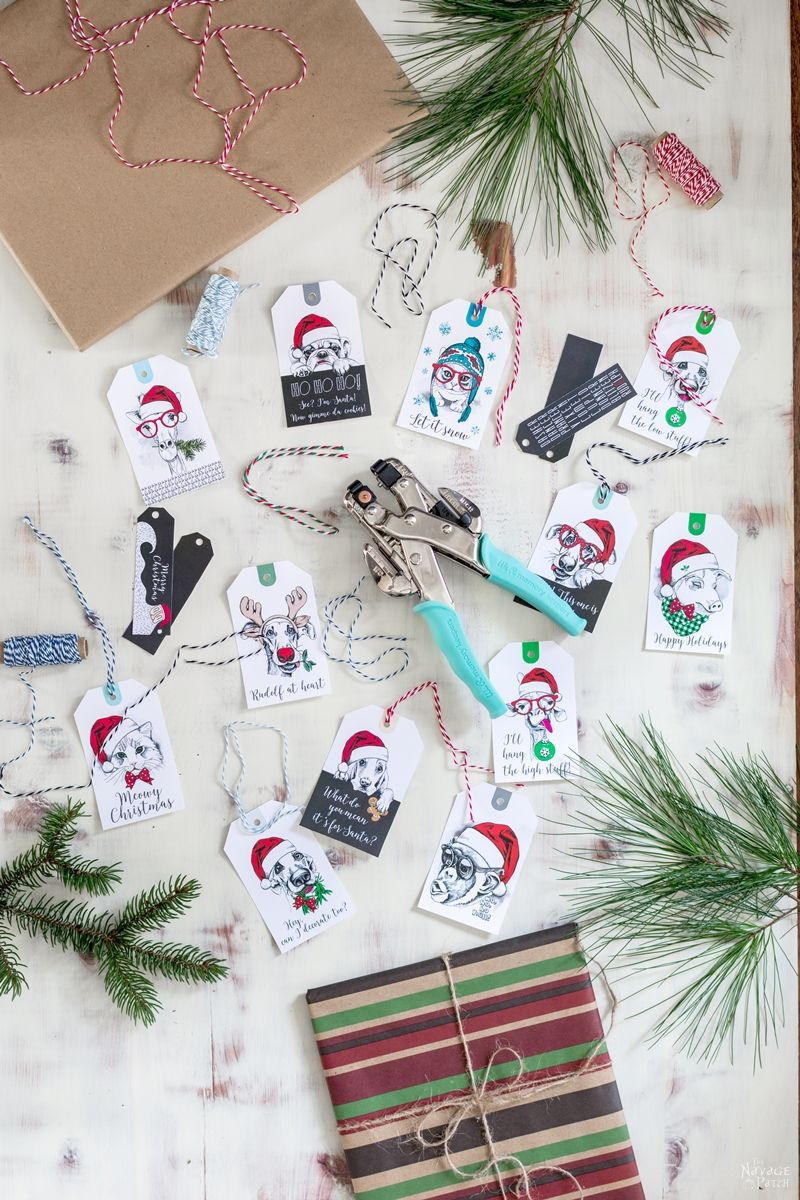 The Cutest Christmas Gift Tags Set Ever! (and it is a free printable)| Free Printable #Christmas Gift Tags | Easy, budget friendly Christmas gift wrapping | Beautiful DIY Christmas gifts | Animal themed #ChristmasFreePrintable | Free Dogs and Cats #GiftTags | TheNavagePatch.com