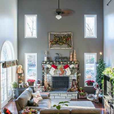 DIY Living Room Makeover | Living Room Phase-1 Reveal | Neutral Gray by Behr | Zinc by Martha Stewart | Fireplace makeover | Painted Fireplace | How to Paint Interior Walls | How to Change Ceiling Fans | Living Room Christmas Decoration | Before & After | TheNavagePatch.com