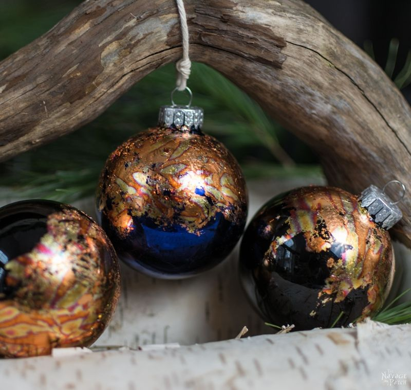 DIY Gilded Christmas Ornaments | How to apply gold and copper gild | How to use and clean gilding adhesive | 10-minute DIY Christmas decorations | How to get crackled copper gild look | #TheNavagePatch #easydiy #DIY #ChristmasDecor #DIYChristmasOrnaments #HandmadeChristmas #Christmascrafts #holidaydecor | TheNavagePatch.com