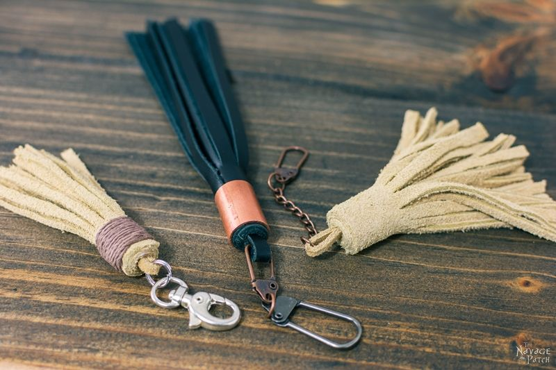 DIY Leather and Yarn Tassels | DIY Embroidery floss tassels | DIY leather tassel keyring | DIY leather tassel bag charm | How to make a yarn tassel | How to make embroidery floss tassels | Step-by-step tassel tutorial | DIY Bohemian style suede tassels | #DIY #tutorial #diytutorial #DIYHomeDecor #BohemianStyle | www.TheNavagePatch.com