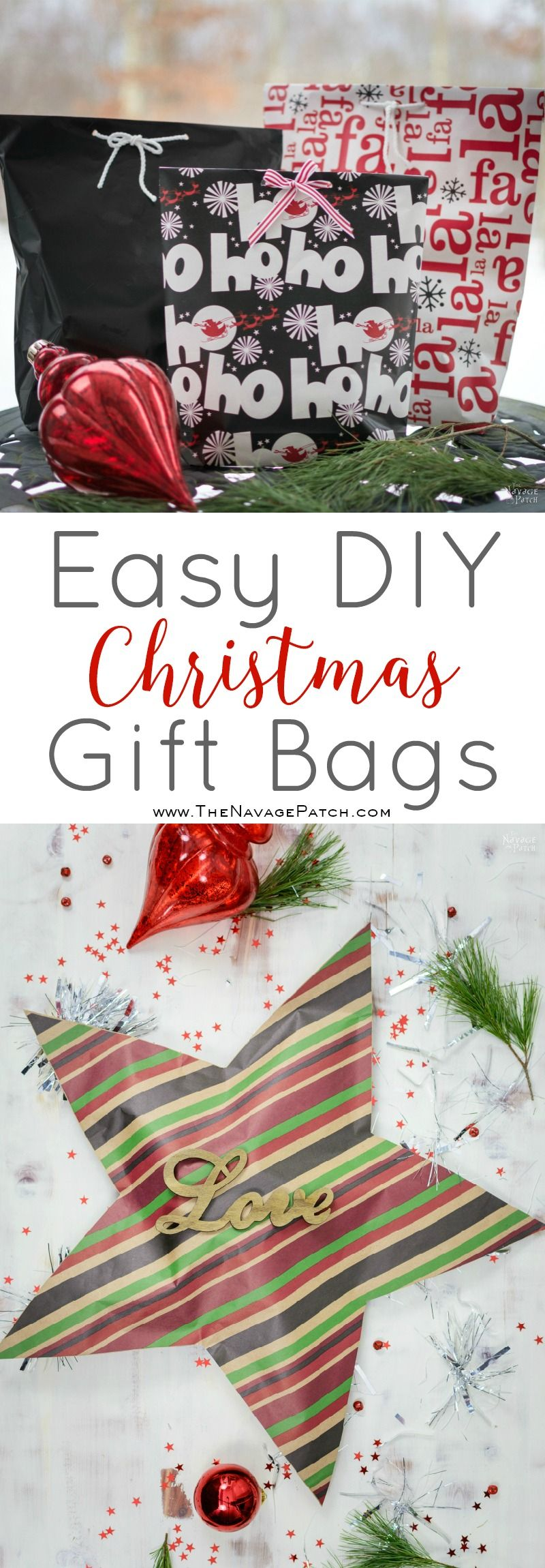 Easy DIY Christmas Gift Bags | Fun and Stylish Christmas Gift Wrapping Ideas | DIY Christmas Gift Wrapping Ideas | Easy and Budget Friendly Gift Wrapping | Creative Gift Wrapping Ideas | Creative Gift Topper Ideas | DIY Christmas Gift Toppers | DIY Christmas Crafts | #DIYChristmas #DIYGifts #DIYGiftBags #CreativeGiftWrapping #DIYChristmasCrafts #Christmascrafts #Christmas | www.TheNavagePatch.com