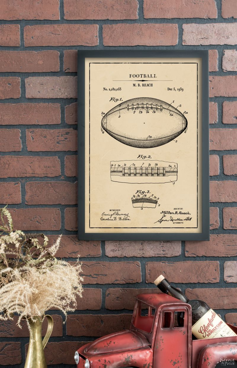 18 Free Printable Vintage Football Patent Art | Free printable high resolution blueprints diagrams | DIY oversized wall hangings | #FreePrintable #Football #PatentArt #Oversize #WallArt | Engineering print | Budget friendly oversized wall art | DIY Industrial Style Home Decor | How to make your own oversize farmhouse style art | DIY Farmhouse Home Decor | www.TheNavagePatch.com