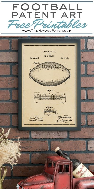 Vintage Football Patent Art Free Printables | Free Vintage Blueprints and patent drawings | Free DIY gift | Free Vintage Football Patent Posters | Free Vintage Blueprint and Diagrams | #TheNavagePatch #FreePrintable #Football #PatentArt #VintagePrintable #Blueprint #FreeArt #Oversize #WallArt #GalleryWall | Engineering print | DIY Industrial Style Home Decor | TheNavagePatch.com