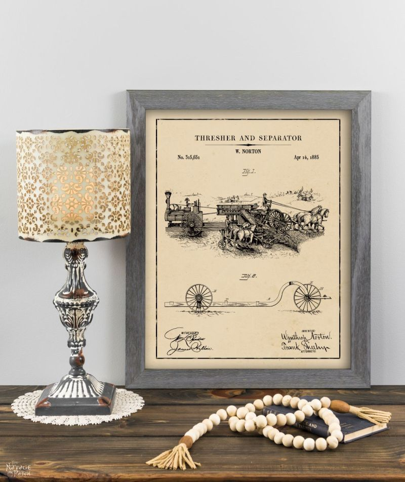 Thresher and separator patent art in aged paper background