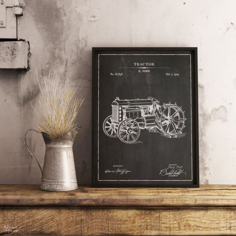 Tractor patent art in chalkboard background