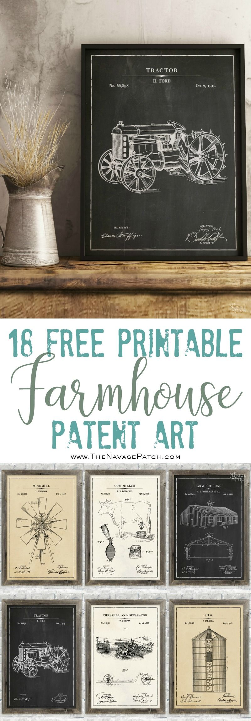 Free Farmhouse Patent Art | Free printable Farmhouse Patent Art Posters | Free printable Vintage Olive Branch Illustrations | Free printable phonetic alphabet wall art | Free printable Morse code alphabet wall art | Free farmhouse decor | Engineering print vs poster print | Free printable blueprints | DIY wall decoration | Free botanical prints | #TheNavagePatch #FreePrintable #PatentArt #Blueprint #VintagePrintable #Gallerywall | TheNavagePatch.com