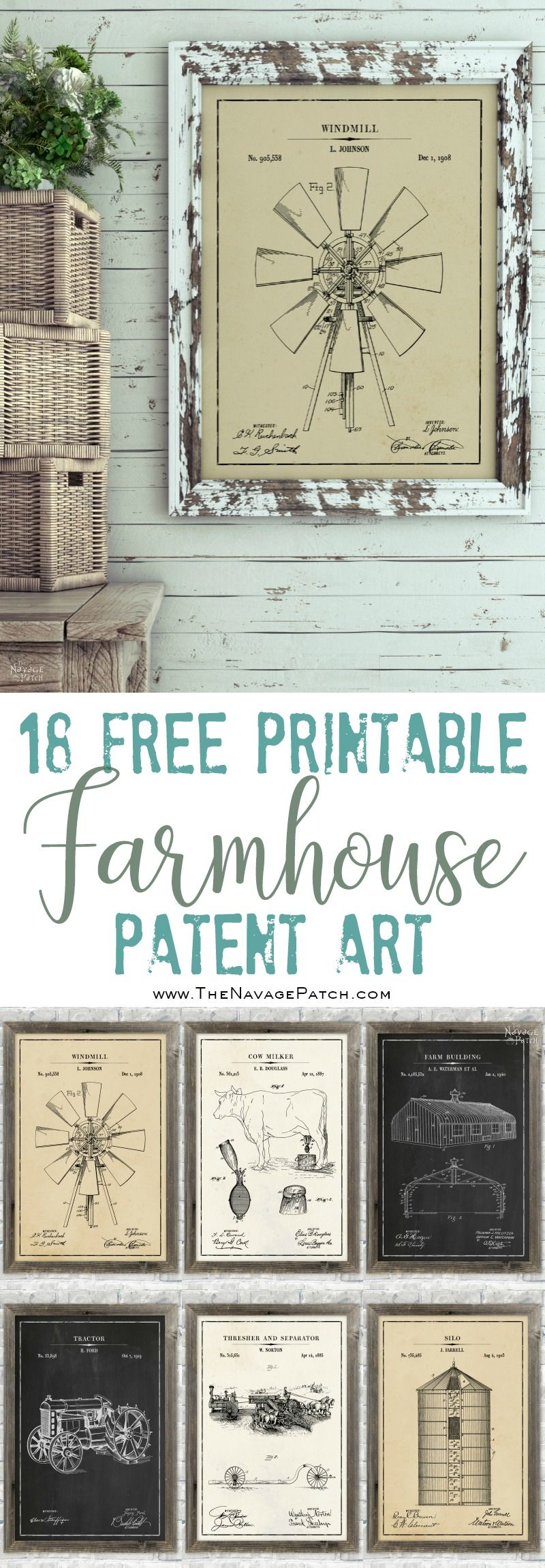 Farmhouse Patent Art (and Surprise Bonus Printables) pinterest image