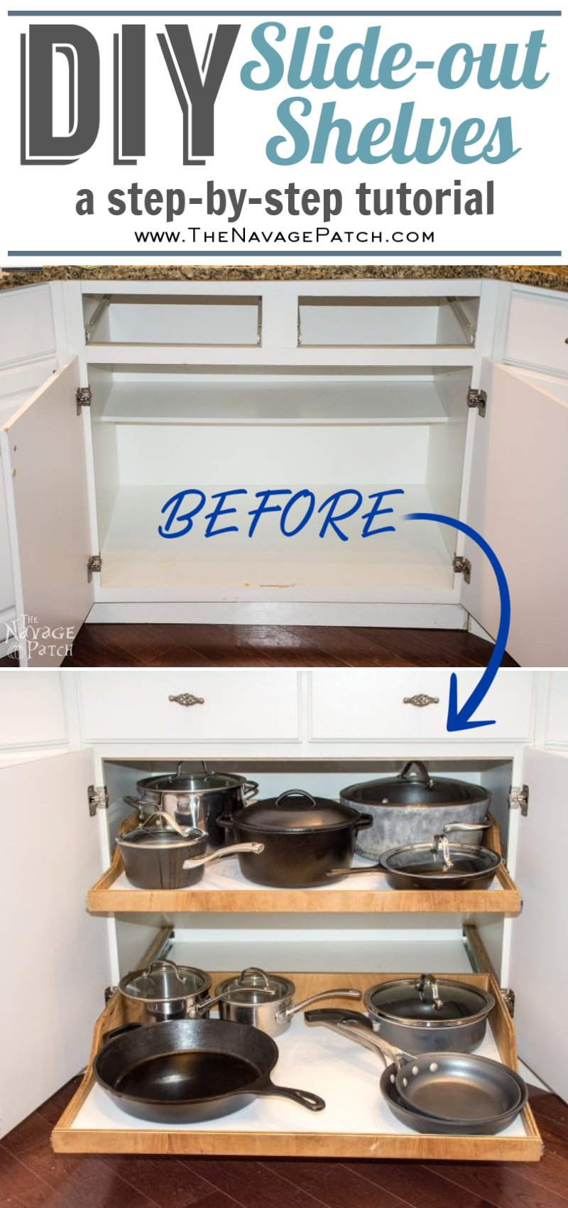 DIY Slide-Out Shelves pin image