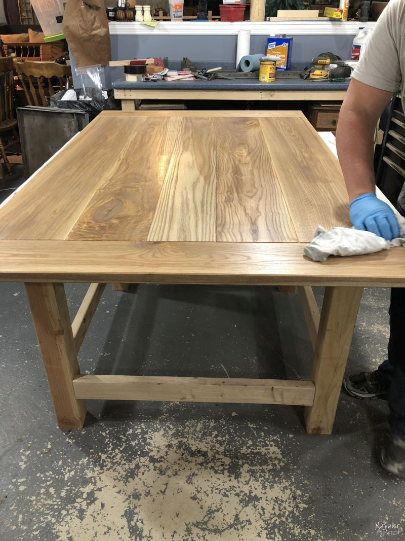 Farmhouse Dining Table with Gothic Revival Legs | DIY dining table tutorial | How to build a high-end farmhouse dining table on a budget | How to find budget friendly ornate table legs | DIY furniture makeover | Upcycled table legs | How to attach legs to a table | Before & After | Dining Room Makeover | #DIYFurniture #DiningRoom #Tutorial #Farmhouse | TheNavagePatch.com