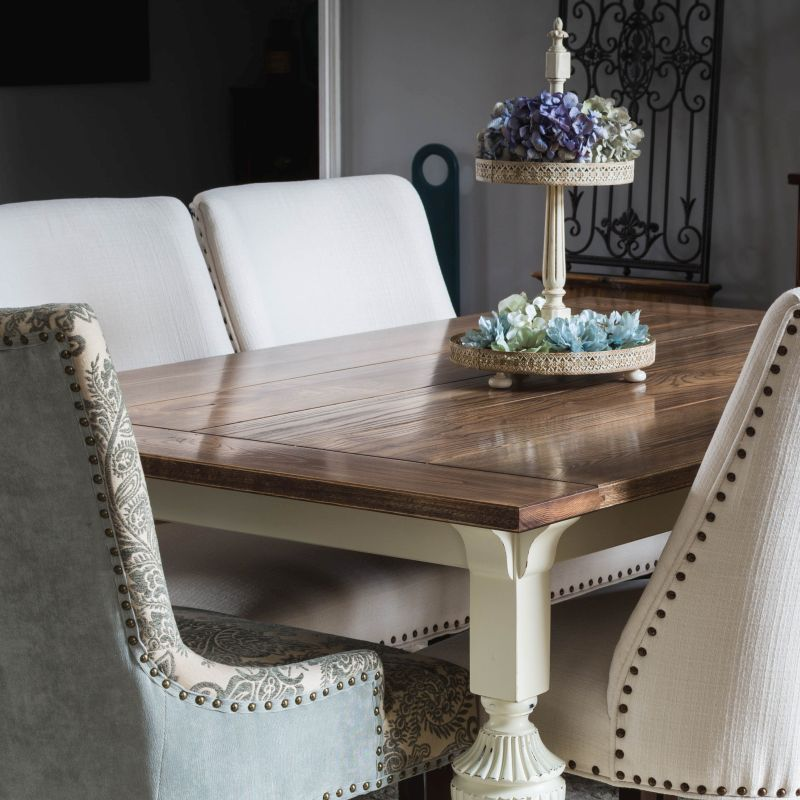 Farmhouse Dining Table with Gothic Revival Legs - TheNavagePatch.com