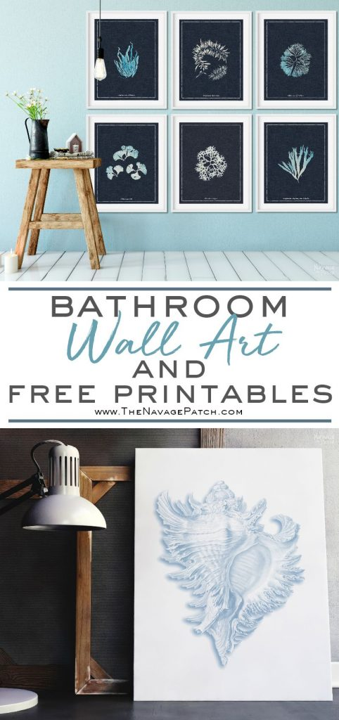 Guest Bathroom Wall Art | Free printable coastal wall art for bathroom | Free printable nautical wall art for bathroom | How to create a gallery wall the easy way | DIY bathroom wall art with upcycled frames | Free printable French wall art for guest bathroom | Leo Fontan - A. P. Martial - Anna Atkins - Ernst Haeckel | #TheNavagePatch #FreePrintable #DIY #GalleryWall #Coastal #Nautical #Upcycled | TheNavagePatch.com