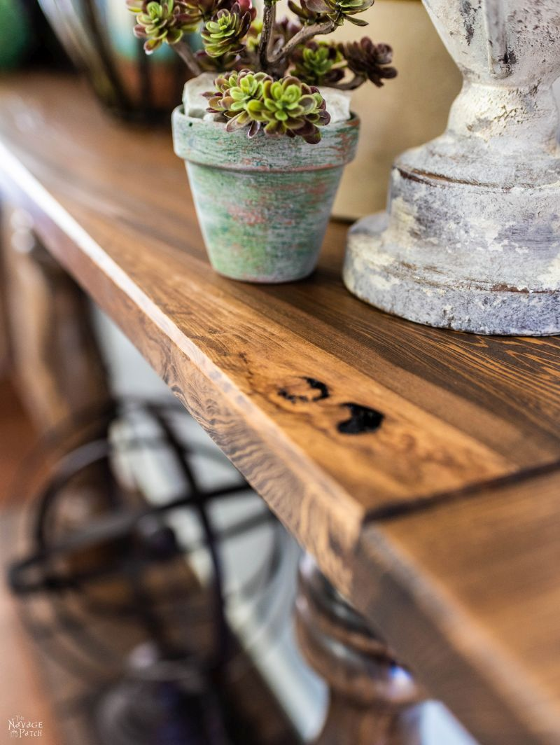 DIY Farmhouse Console Table | How to build a console table | Step-by-Step tutorial for DIY console table with turned table legs | Where to buy affordable turned table legs | How to build a high-end farmhouse console table on a budget | DIY farmhouse furniture | Free step-by-step woodworking plans | Dining Room Makeover | #TheNavagePatch #DIY #DIYFurniture #Tutorial #Farmhouse #ConsoleTable | TheNavagePatch.com