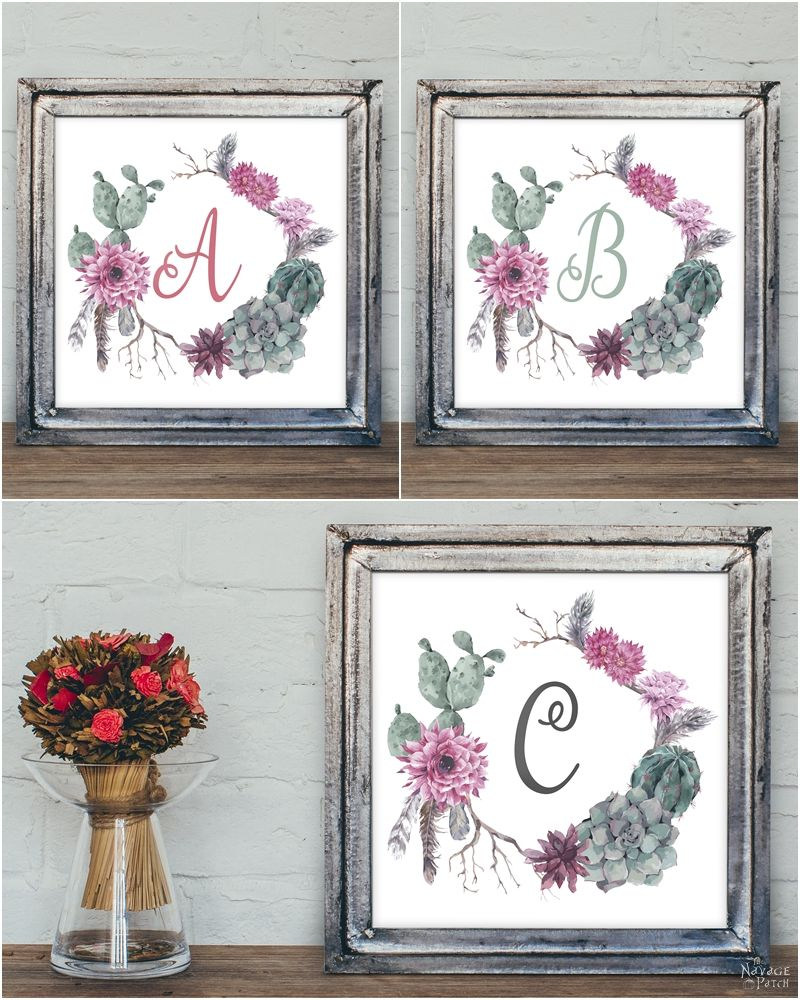 Free Printable Succulent Monogram Wall Art | Beautiful Free Succulent  Initials Wall Art | Free Printable