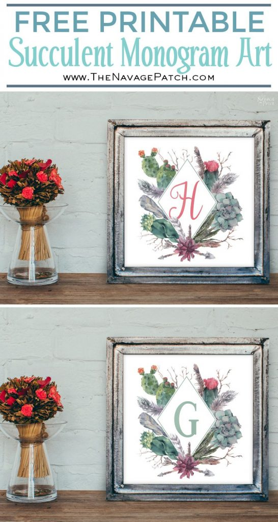 Free Printable Succulent Monogram Wall Art | Beautiful Free Succulent Initials Wall Art | Free Printable Succulent Alphabet Wall Decor | Gold Home Sweet Home Printable | Dorm Sweet Dorm Printable | DIY nursery gallery wall | Ready to print gallery wall | Easy DIY Farmhouse wall decor | #TheNavagePatch #GalleryWall #FreePrintable #WallDecor | TheNavagePatch.com