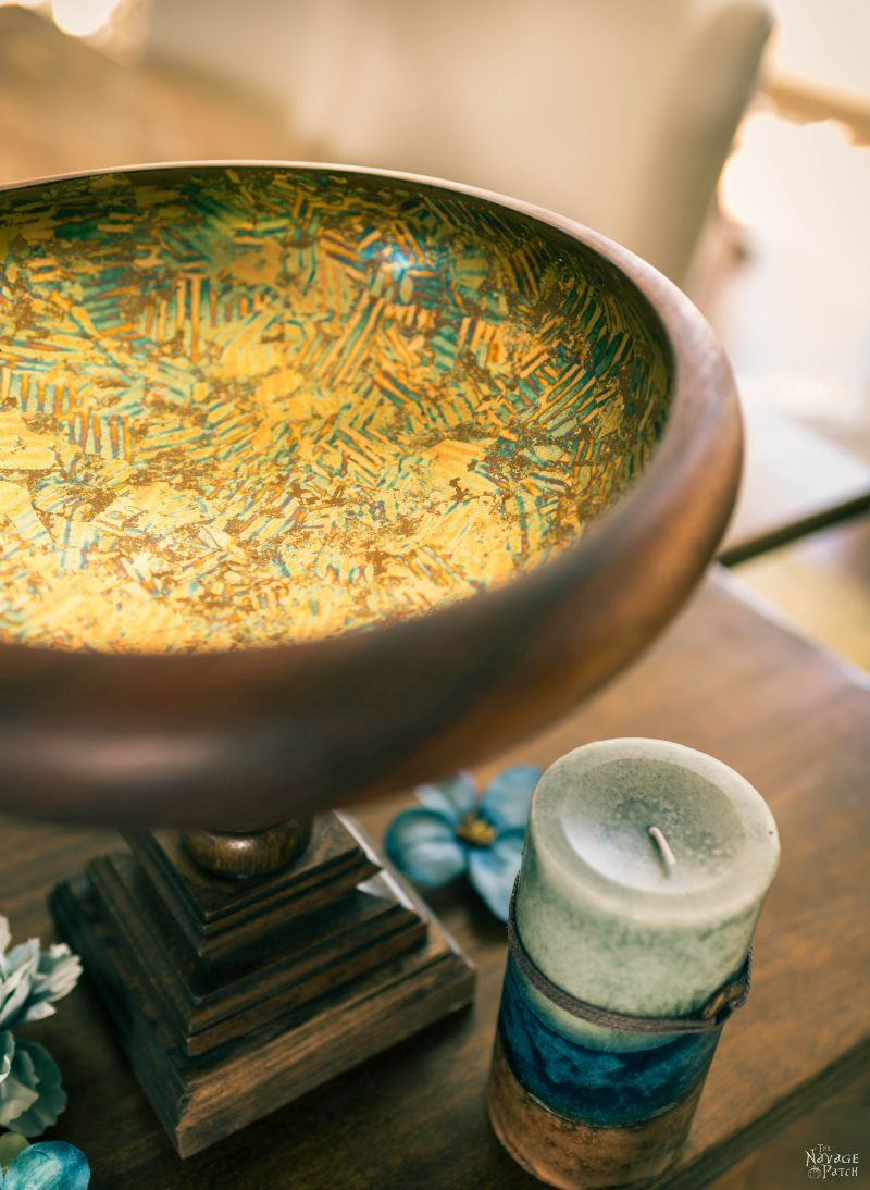 Gilded Bowl Centerpiece | DIY Centerpieces for home | Centerpiece ideas for tables | Floating candle centerpiece bowl | DIY crackled gilding | How to gild | Inexpensive DIY centerpieces | Table centerpieces | Upcycled spindle| Repurposed spindle| Spindle crafts | #DIY #DIYHomedecor #Tablescapes #Centerpieces  #Upcycling #Repurposed | TheNavagePatch.com