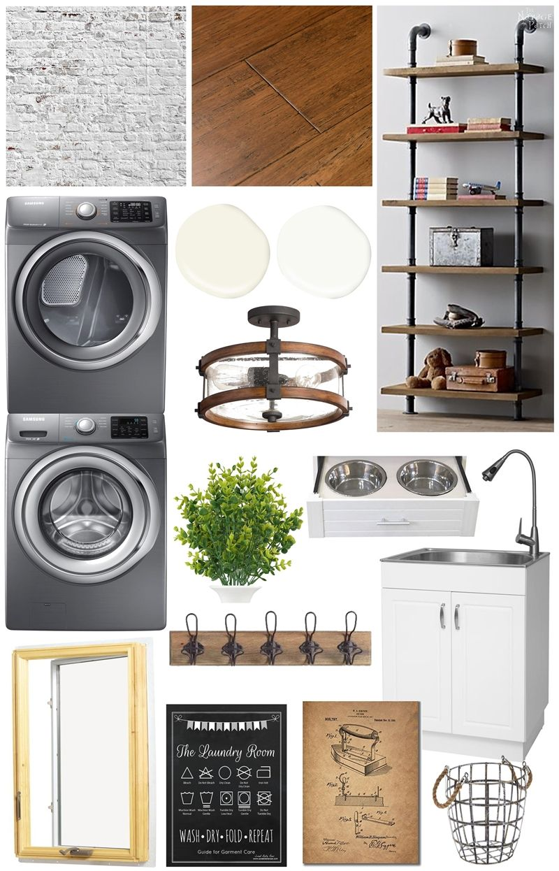 Laundry Room Renovation Plan | White brick walls, bamboo floors, wood and iron Laundry Room Moodboard | Modern Farmhouse and Industrial style Laundry Room moodboard | LVP flooring vs Bamboo flooring | How to choose Laundry Room flooring | Before & After | #Laundryroom #ModernFarmhouse | TheNavagePatch.com