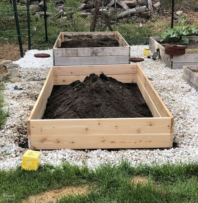 DIY Raised Garden Bed filled with soil